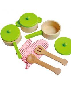 סט כלי מטבח מעץ משולב צבע ירוק