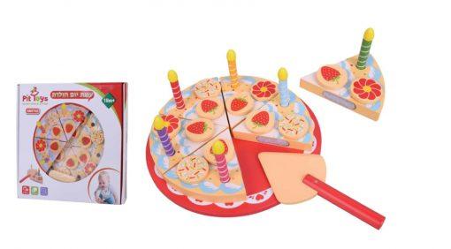 עוגת צעצוע מעץ מלא