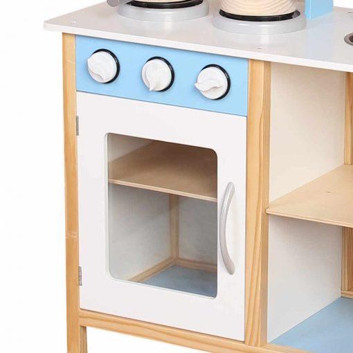 מטבח לילדים מעץ בצבע לבן בשילוב תכלת