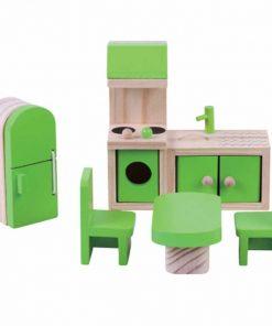 ריהוט מעץ מלא לבית בובות מטבח לבית בובות