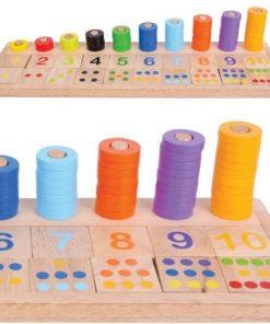 צעצוע למידה והתפתחות מעץ, לוח מספרים מעץ, צבעים וכמות