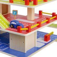 צעצוע מעץ, חניון מעץ מלא למכוניות 3 קומות