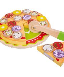 צעצוע מעץ, מגש פיצה מעץ מלא כולל תוספות