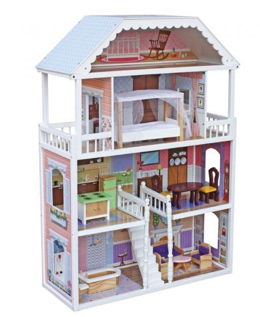 בית בובות לילדות מעץ שלוש קומות וקומת גג, דגם מורן