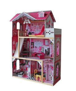 בית בובות לילדות מעץ שלוש קומות וקומת גג