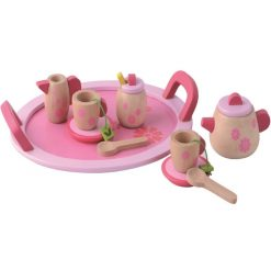 צעצוע מעץ, סט הגשה לתה מעץ מלא