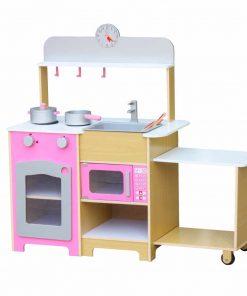מטבח לילדים מעץ דגם צרפתי גוון ורוד
