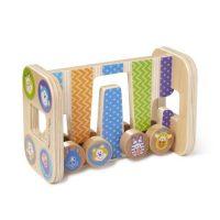צעצוע עץ מגדל זיג זג עם 4 חלקים מתגלגלים