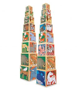 מגדל קוביות מעץ - חיות