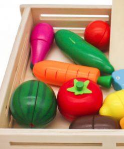 סט מעץ לילדים לחיתוך ירקות ופירות