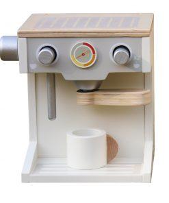 מכונת קפה מעץ צעצוע לילדים בצבעי לבן ועץ