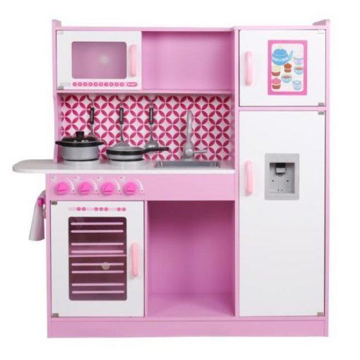 מטבח מפואר מעץ לילדים , דגם רון בצבע ורוד, כולל כלי מטבח,מקרר עם בר מים, כיריים, תנור, מיקרוגל, כיור עם ברז