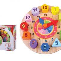 צעצוע התפתחות מעץ, שעון התאמת צורות ומספרים ללימוד, לפיתוח תיאום עין ויד