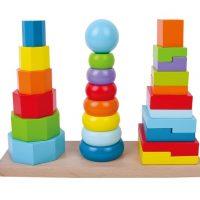 מגדל פעילות לילדים הכולל 3 עמודי השחלות לטבעות, צורות ומשושים צבעוניים