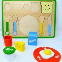 פאזל ארוחת בוקר מעץ לילדים הכולל 13 חלקים