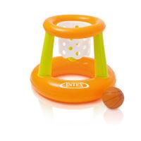 סט משחק כדורסל לבריכה לילדים בצבעי כתום וירוק מבית INTEX דגם 58504 הכולל חישוק כדורסל צף עם רשת קליעה וכדור.