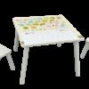 שולחן מעץ לילדים עם 2 כיסאות ללימוד אותיות א'-ב' ומספרים הכולל משטח כתיבה מחיק עם שורות