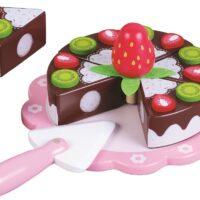 עוגת שוקולד תות מעץ לילדים הכוללת 9 חלקים, לפיתוח תיאום עין-יד. מכיל: מגש אירוח לעוגה, כף הגשה, 6 פרוסות עוגה מהודרות ותות ענק לקישוט העוגה.