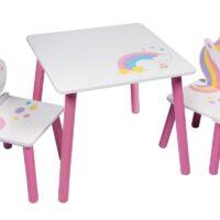 שולחן מעץ לילדים עם 2 כיסאות בעיצוב חד קרן - לאהוב את הקסם!