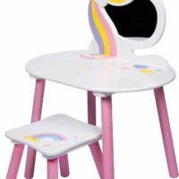 שולחן איפור מעץ לילדים בעיצוב חד קרן הכולל שרפרף ומראה בצבעי לבן וורוד