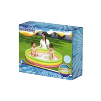 בריכה מתנפחת לילדים מבית Bestway בעלת 3 קומות צבעוניות בעיצוב נאון עם תחתית מתנפחת לנוחות מירבית.