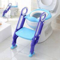 מושב אסלה עם מדרגות לפעוטות, מושב למידה עם מדרגות לאסלה מרופדת בצבעי תכלת וסגול לתינוקות