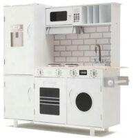 מטבחאדירמעץלילדים , בצבעי לבן, כולל מקרר, מכונת כביסה, כיריים, תנור, מיקרוגל, כיור עם ברז