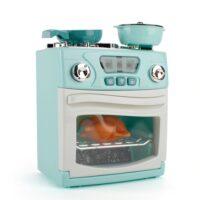מערכת-בישול-אלקטרונית-בגוון-טורקיז-ולבן-הכולל-תנור-עם-כלים-וכיריים-מחבת-סיר-ומכסה-לילדים