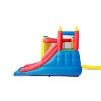 מתנפחים - מתקן שעשועים מתנפח לילדים, בעיצוב של טירה קופצנית עם חדר קפיצה, סל קליעה ומגלשה.