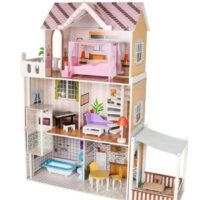 בית בובות לילדות מעץ שלוש קומות וקומת גג, דגם אדל כולל סלון, מעלית, מקלחת, מטבח, פינת אוכל וחדר שינה גדול עם מרפסת וחצר הבית כולל ריהוט מלא.
