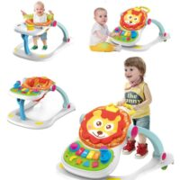 הליכון לתינוק, הליכון אינטראקטיבי מוזיקלי 4 ב-1 לפעוטות הכולל שולחן אוכל מנגן עם כיסא בעיצוב אריה ידית אחיזה וגלגלים מונעי החלקה