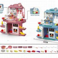מטבח-צעצוע-לילדים-מפלסטיק-עם-תאורה-וצלילים-הכולל-שעון-כיור-עם-ברז-כיריים-תנור-מקרר-אוכלים-ושתייה-פירות-וירקות