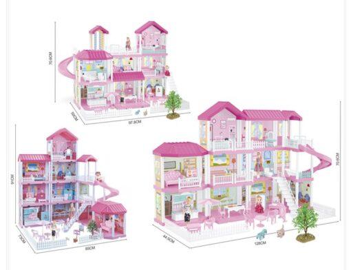 בית בובות וילה מפלסטיק לילדים עם תאורה 325 חלקים בית בובות מפואר מהחלומות ו- 3 קומות הכולל מגלשה, מדרגות, ריהוט לבית ולחצר, אמא, אבא, ילדה ו-2 חיות מחמד